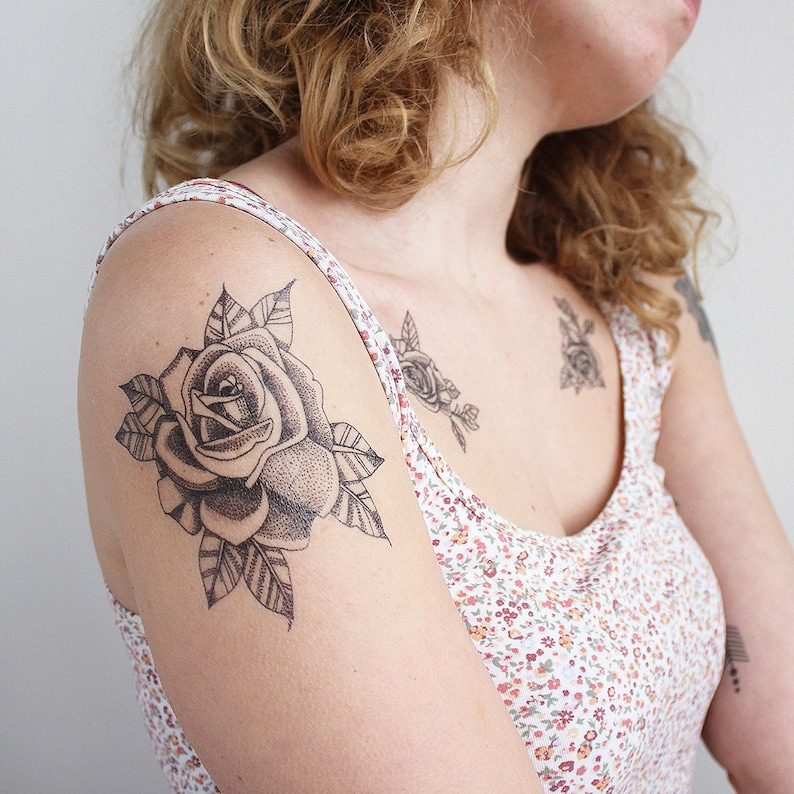 ed330fcfc62f1 Dotwork Roses Set of 2 Temporary Tattoo / Rose Temporary | Etsy
