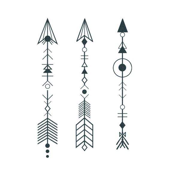 Boho Arrow Tattoos Set Of 3 Temporary Tattoo Realistic Etsy