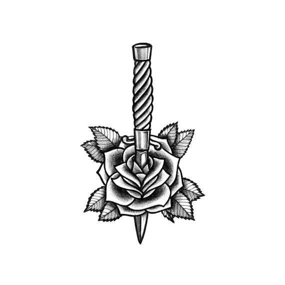 Dagger Rose Dagger Rose Temporary Tattoo Blackwork Etsy