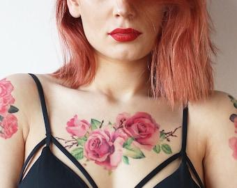 Large Watercolor Roses Tattoo / Watercolor Rose Temporary Tattoo / Watercolor Flower Temporary Tattoo /Floral Watercolor Tattoo/Large Flower