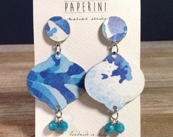 paper earrings, flower style, paper design, handmade earrings