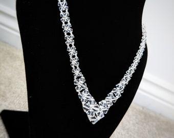 "Bridal Swarovski crystal necklace with silver finish, 16"""