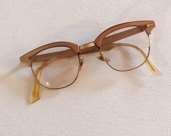 4462687156a1 1950s Horned Rim Shuron Reading Glasses Bronze Gold