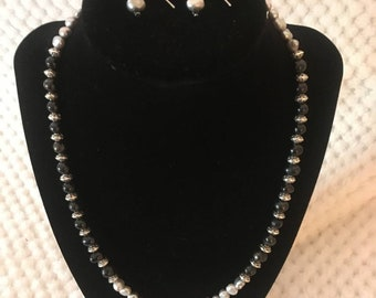 Freshwater pearls - black and grey # p5