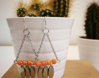 Steel and semi-precious stones earrings