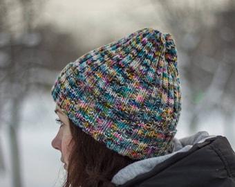 Knit hat beanie hand dyed knit hat merino wool hat
