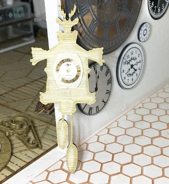 DOLLHOUSE MINIATURE ~ CUCKOO WALL CLOCK