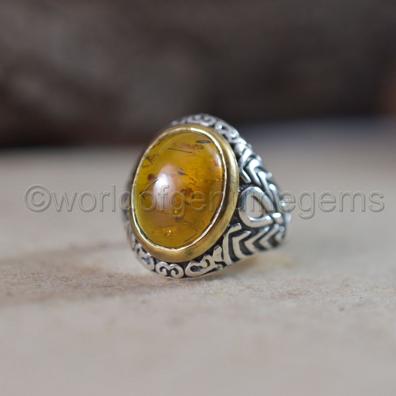 Solid 925 Sterling Silver Natural Baltic Amber Gemstone Mens Unisex Ring Jewelry