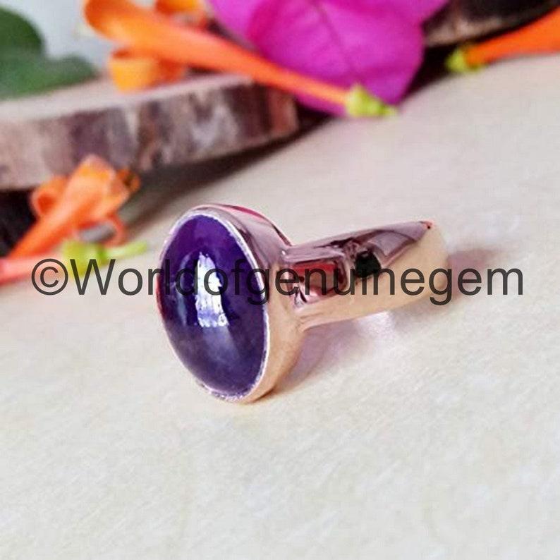 Rose Gold 925 Sterling Silver Jewelry Natural Purple Amethyst Ring FebruaryBirthstone Jewelry Healing Gemstone Amethyst Women/'s Wedding Ring