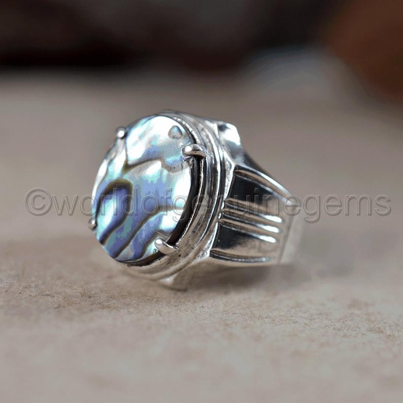 Quality Men/'s Engagement  Ring For Men Four Prong Setting Color Full Abalone Shell Ring 925 Sterling Silver Healing Gemstone Ring A
