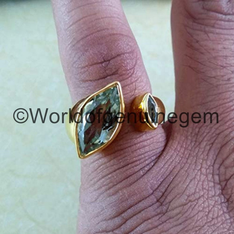 Yellow Gold Mother Daughter Ring 925 Silver Ring Green Amethyst Blue Topaz Ring Natural Green Amethyst Adjustable Ring For Her Etsy Special