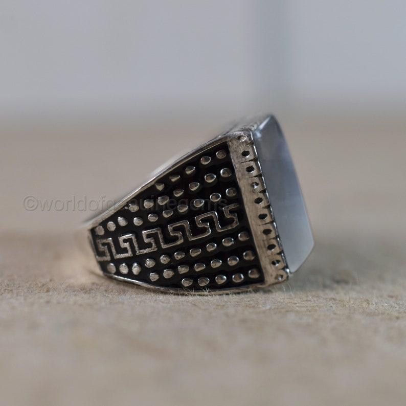 Gray Moonstone Ring Black Enamel Ring 925 Sterling Silver Ring Natural Gemstone Ring Wedding Men/'s Ring Boy\u2019s Huge Ring Gift For Him Ring