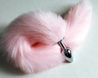 35497aff0c1 Pink tail butt plug fox tail butt plug bdsm ddlg cat toy mature toys pet  play Pink kitten tail plug faux cat tail buttplug