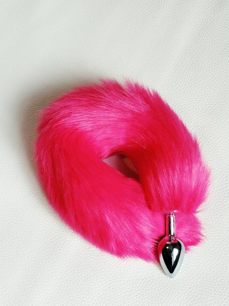9ff44fd8674 Butt plug hot pink tail fox tail butt plug bdsm ddlg cat toy