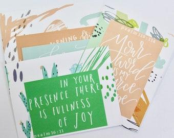 Set of 4 Favorite Scriptures Notecards - Hand Lettered