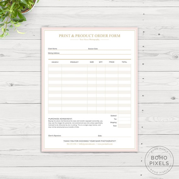 Photography Order Form Template For Photoshop Photography Etsy