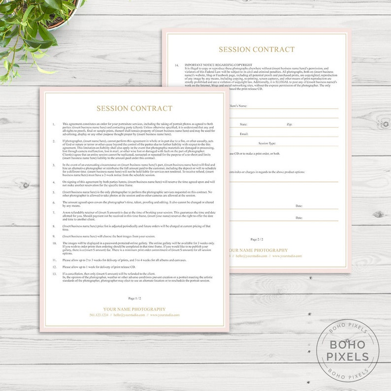 Session Contract Template for Photographers  Photography image 0