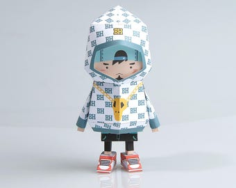 018 Hipboy Paper Craft Origami Template Files Digital FIles PDF Boogiehood Toy