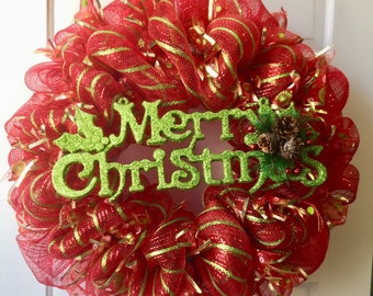 Christmas decomesh door wreath with Merry Christmas sign