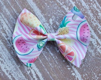 Tutti Fruit Faux Leather Bow, Watmelon Bow , Pineapple Bow, Pink Bow , Baby Headband , Toddler Headband , Nylon Headband Clip Bow