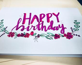 Birthday Card - Bottom Flower Wreath