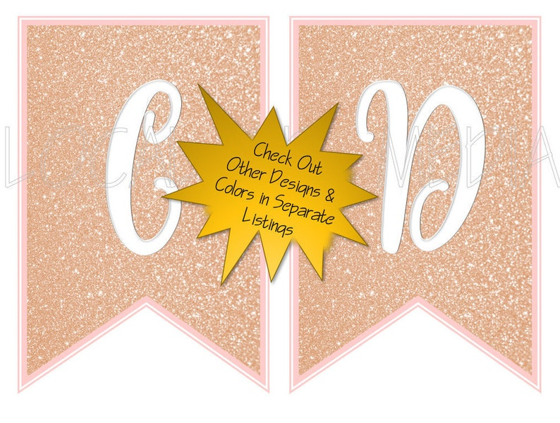 Bunting Instant Download Birthday Banner Mint and Gold Banner Birthday Bunting Digital Download Valentines Banner Banner Gold Letter