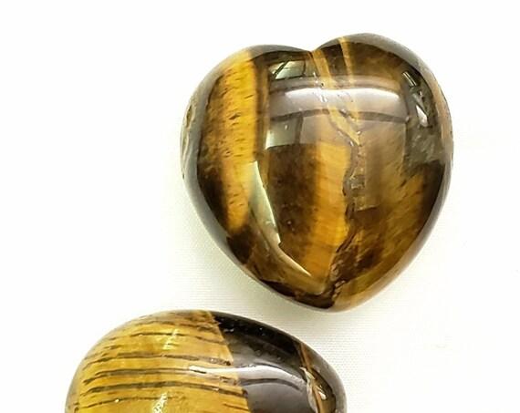 Tiger Eye Heart Palm Stone