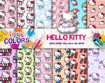 Hello Kitty Clipart Hello Kitty Digital Papers Hello Kitty  Etsy