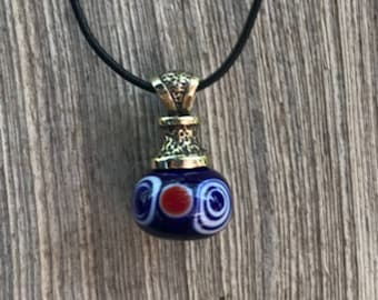 One of a kind on 18 Italian rubber cord Glass Bead Pendant Necklace Hand made Pendleton like Gold Bronze  accent