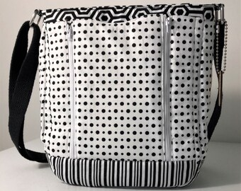 Concealed Carry Bag, Black and White, Cross Body, Shoulder or Arm Carry, Padded Pockets