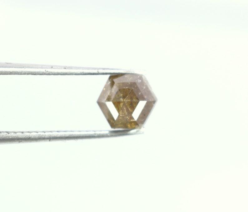 1.10 Cts Natural LB Salt Pepper Diamond Rose Cut Hexagon shape 1 Piece 6.7 mm Diamond