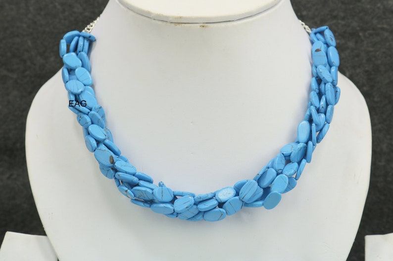Beautiful Turquoise Silver Necklace,Sleeping beauti Sterling Silver Chain Necklace