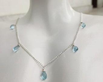 Handmade Blue Topaz Beaded Chain Necklace,Beautiful Silver Chain Natural Stone Teardrop Necklace Personalized Gift