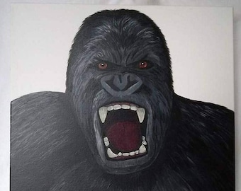 """ROAR"" - gorilla - french canvas art - animals - table Gorilla - father's day-King Kong - birthday"