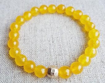 Jade bracelet, Jade Jewelry, Gemstone bracelet, Beaded bracelet, Stretch bracelets for women, Gift for her, Yellow, Stretch bracelet