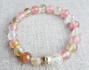 Quartz Bracelet, Quartz Jewelry, Watermelon Quartz, Stretch Bracelet, Gemstone Bracelet, Beaded Bracelet, Mens Bracelet, Womens Bracelet
