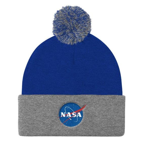 NASA Pom Pom Beanie Winter Hat - NASA logo Knit Cap 83c5aba0ba2