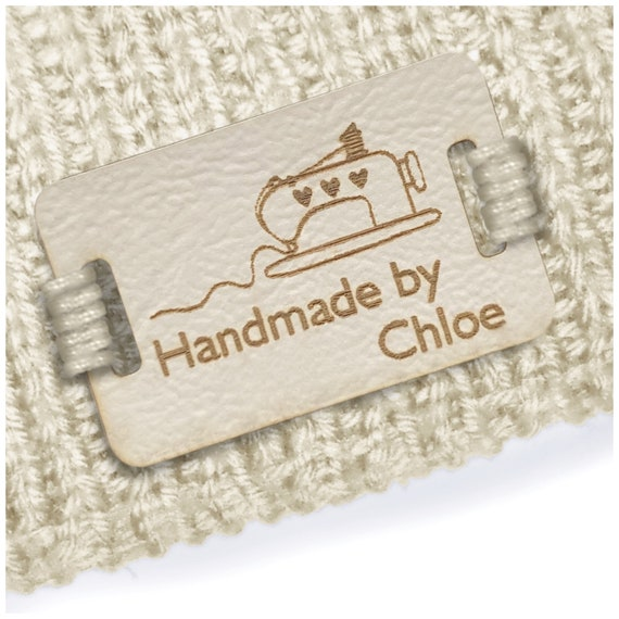 Personalised Set of 50 Rectangle 28x12mm Faux Leather Labels.
