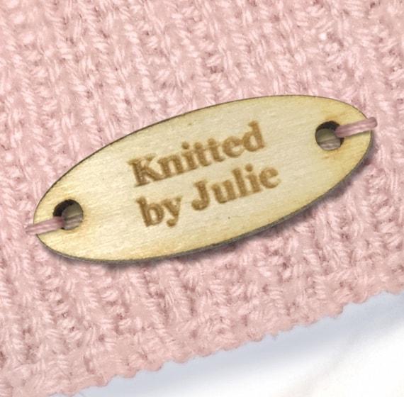Rectángulo Personalizado Etiquetas 40x20mm productos de madera hecho a mano de lana icono de punto