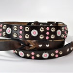 """Daisy Mae 1.5"""" Leather Dog Collar and 1"""" Leash Set in Black or Brown"""