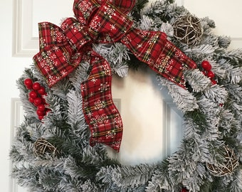 Winter Wreath, Holiday Wreath, Christmas Wreath, Flocked Wreath, Red Bow Wreath, Front Door Wreath, Door Decor