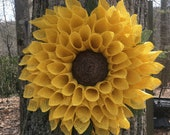 Best Seller Large Sunflower Wreath, Yellow Burlap Wreath, Burlap Flower Wreath, Spring Wreath, Summer Wreath, Fall Wreath, Front Door Wreath