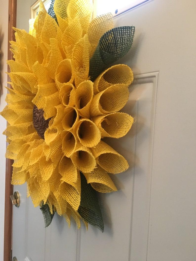 Sunflower WreathBest Seller Wreath Burlap Flower Wreath image 3