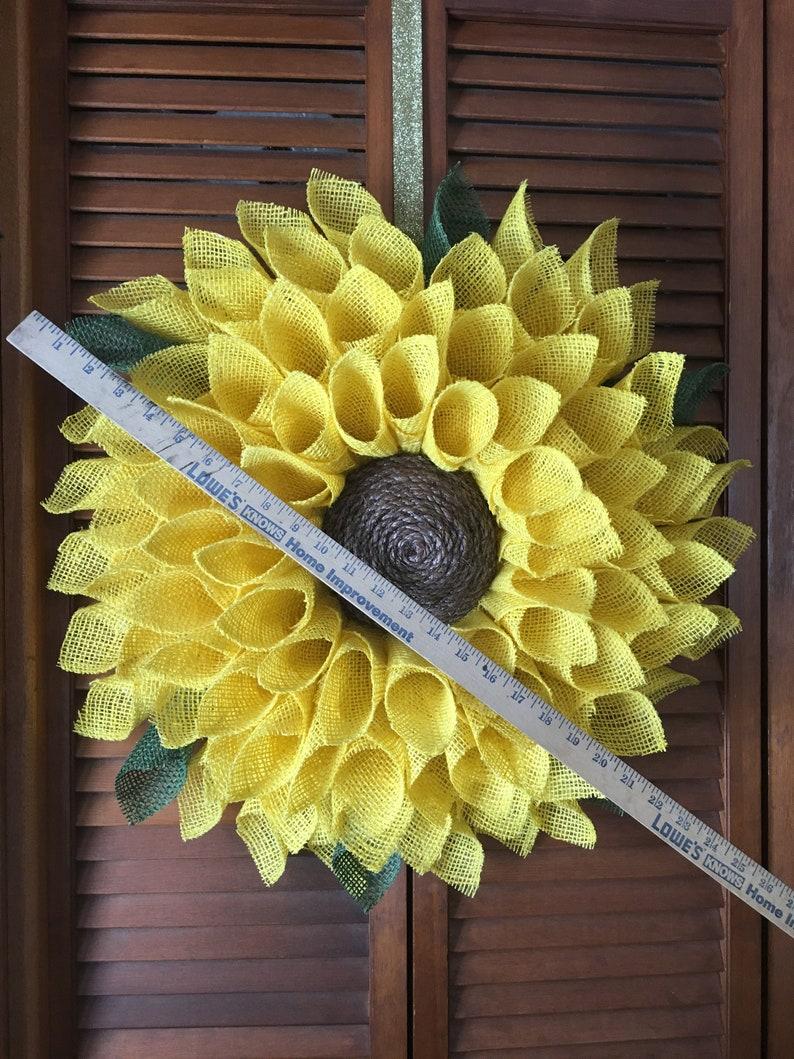 Sunflower WreathBest Seller Wreath Burlap Flower Wreath image 6