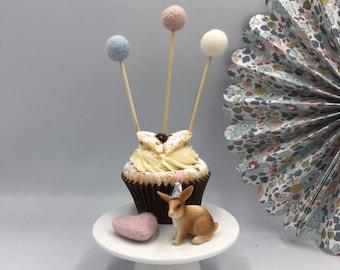Felt Ball Pom Cake Decoration