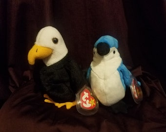 Ty Beanies Babies Baldy the Eagle and Rocket the  Blue Jay