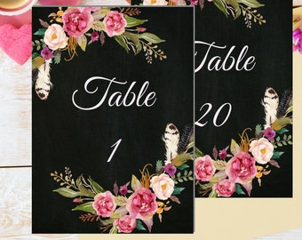 Printable Wedding Table Numbers, Birthday Table Numbers, Floral Table Numbers For Wedding, Instant Download Table Numbers with Numbers 1-20