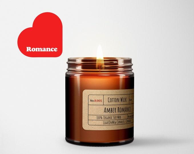 Amber Romance︱8oz Candle︱Vegetal Soy Wax︱Amber Jar Candle︱Scented Candle︱Soy Candle︱Candle Lover Gift︱Candle Gift︱LightOnMeCandles