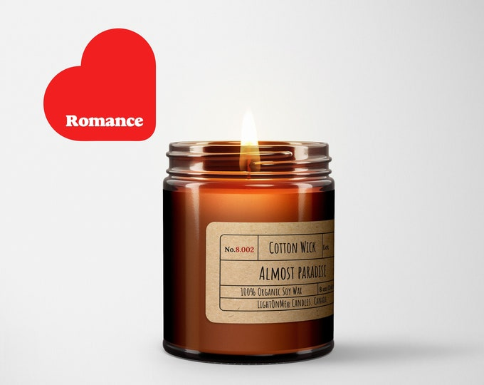 Almost Paradise︱8oz Candle︱Vegetal Soy Wax︱Amber Jar Candle︱Scented Candle︱Soy Candle︱Candle Lover Gift︱Candle Gift︱LightOnMeCandles