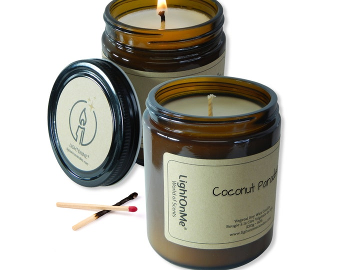 Coconut paradise candle︱8oz Candle︱Vegetal Soy Wax︱Amber Jar Candle︱Scented Candle︱Soy Candle︱Candle Lover Gift︱Candle Gift︱LightOnMeCandles